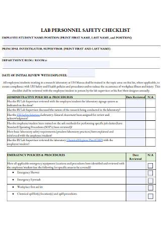 Lab Personnel Safety Checklist