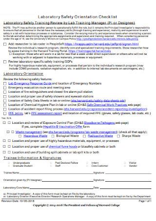 Laboratory Safety Orientation Checklist