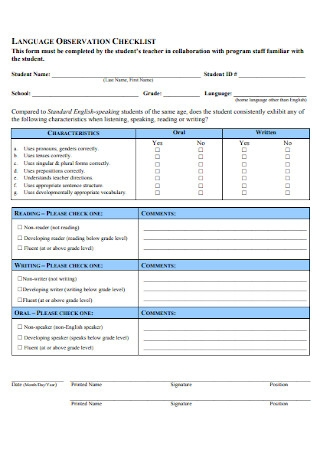 Language Observation Checklist Template