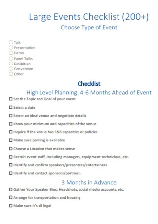 Large Events Checklist