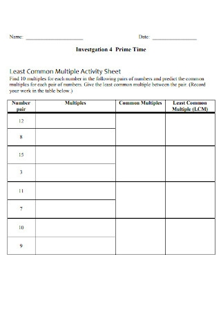 Least Common Multiple Activity Sheet