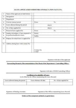 Leave Application Form for Contract