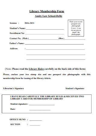 Library Membership Form