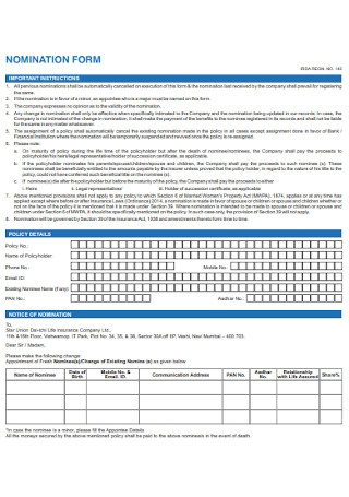 Life Insurance Nomination Form