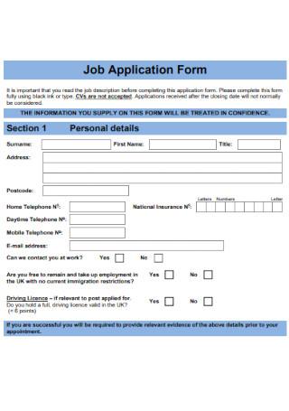 Logistics Job Application Form