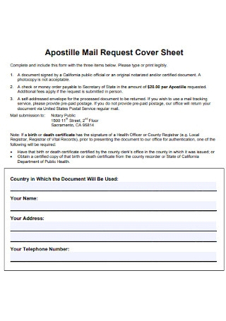 Mail Request Cover Sheet
