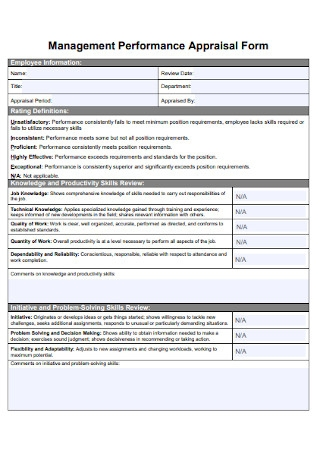 Management Performance Appraisal Form