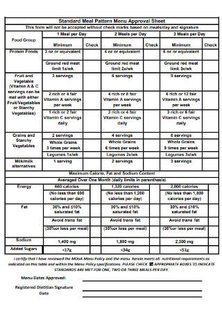Meal Pattern Menu Approval Sheet