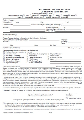 Medical Authorization Release Form