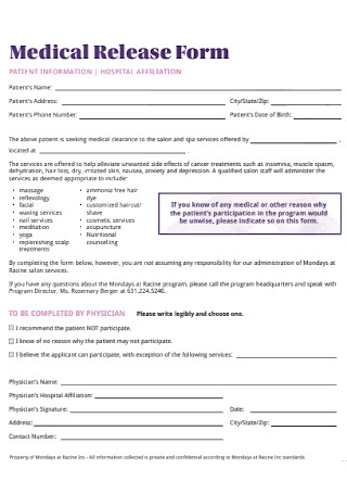 Medical Program Release Form
