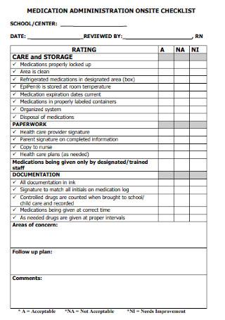 Medication Adminstration Onsite Checklist