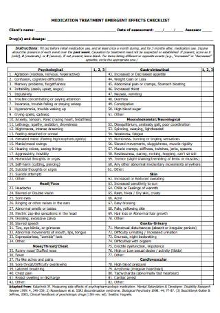 Medication Treatment Checklist Template