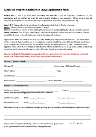 Medicine Student Leave Application Form