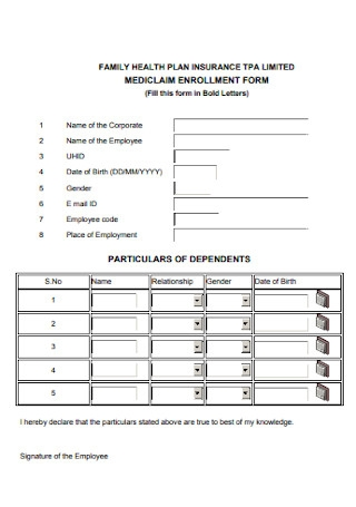 Mediclaim Enrollment Form