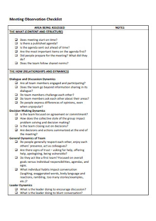 Meeting Observation Checklist