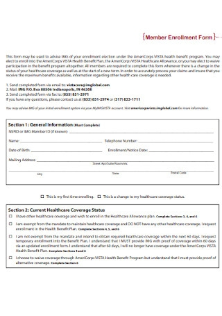 Member Enrollment Form