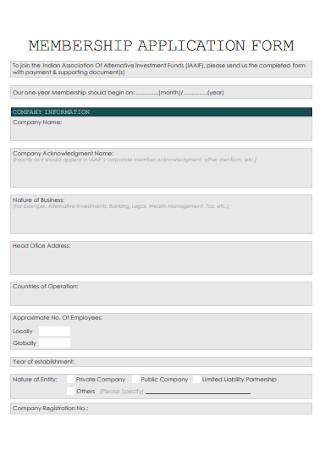Membership Application Form Format