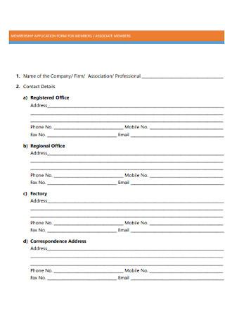 Membership Application Form for Members