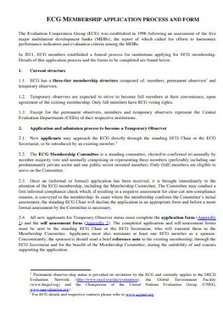 Membership Application Process Form