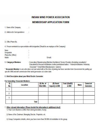 Membership Association Application Form