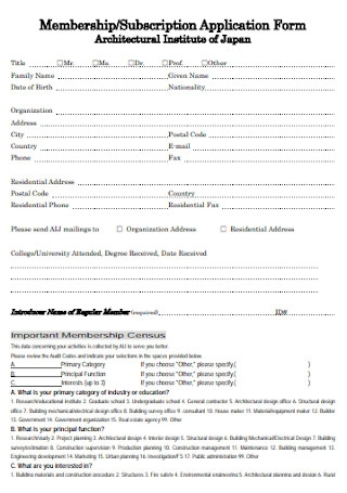 Membership Subscription Application Form