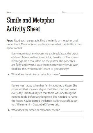 Metaphor Activity Sheet
