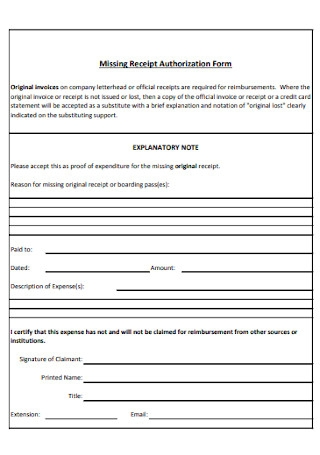 Missing Receipt Authorization Form