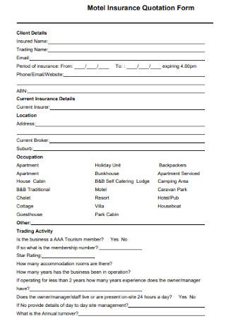 Motel Insurance Quotation Form
