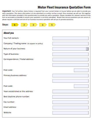 Motor Fleet Insurance Quotation Form