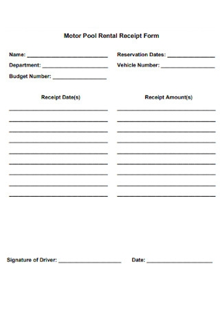 Motor Pool Rental Receipt Form