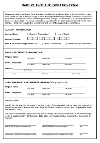 Name Change Authorization Form