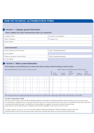 Net Banking Authorizatioon Form