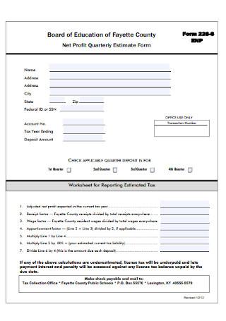 Net Profit Quarterly Estimate Form