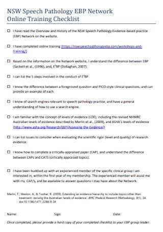 Network Online Training Checklist