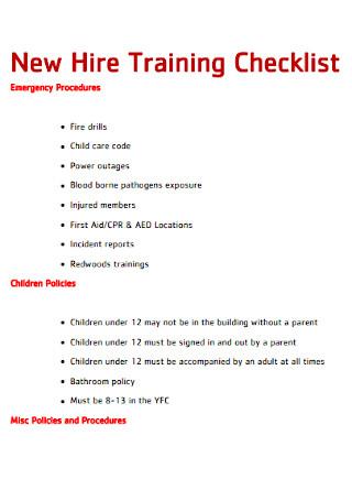 New Hire Training Checklist