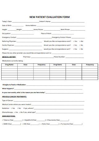 New Patient Evaluation Form