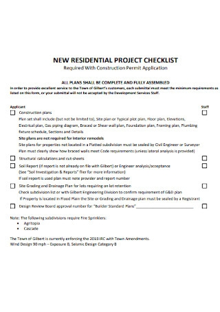 New Residential Project Checklist