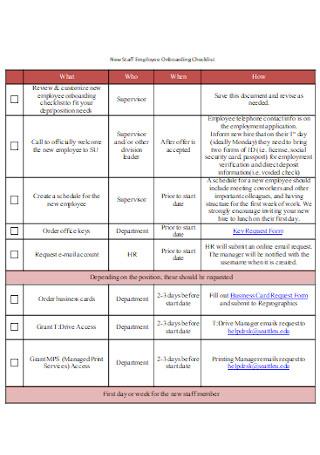 New Staff Employee Onboarding Checklist