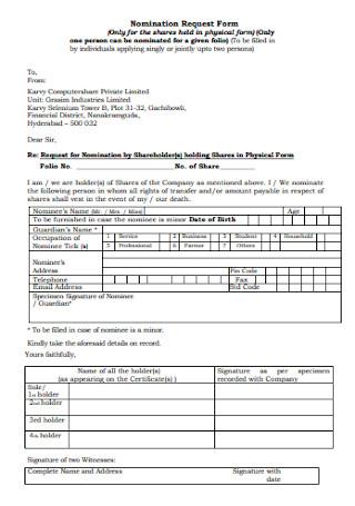 Nomination Request Form