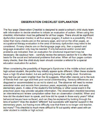 Observation Explanation Checklist
