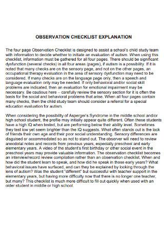 Observation Explanation Checklist