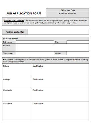 Office Job Application Form