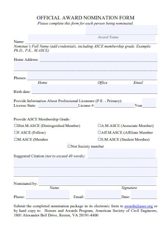 Official Award Nomination Form