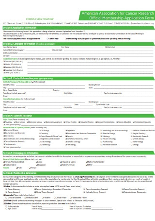 Official Membership Application Form