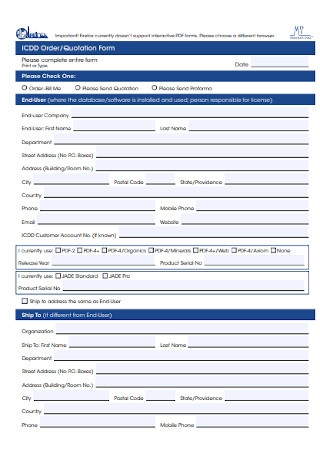 Order and Quotation Form