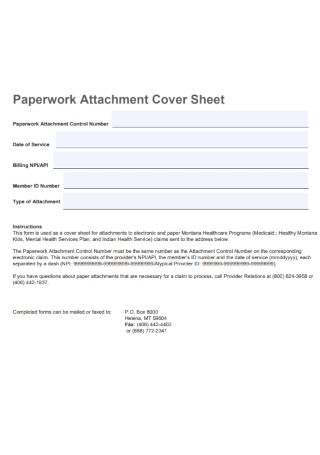 Paperwork Attachment Cover Sheet