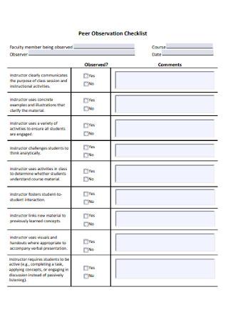 Peer Observation Checklist
