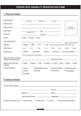 Pension with Disability Registration Form