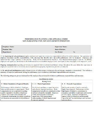 Performance Planning Appraisal Form