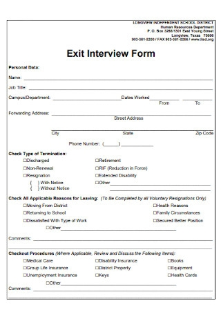 Personal Exit Interview Form